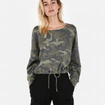Express One Eleven Camo Abbreviated Sweatshirt