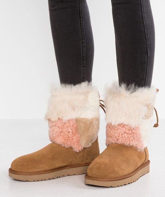 Bốt lông cừu UGG Classic Short Patchwork Fluff Boots 1098071 UGG size 38