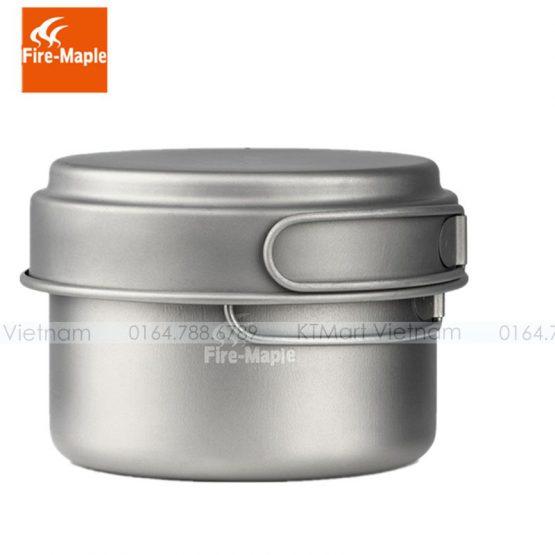 Bộ nồi Dã ngoại Titanium Fire Maple 1200ml Outdoor Horizon3 Titanium Camping Cookware Titanium Pot 174g