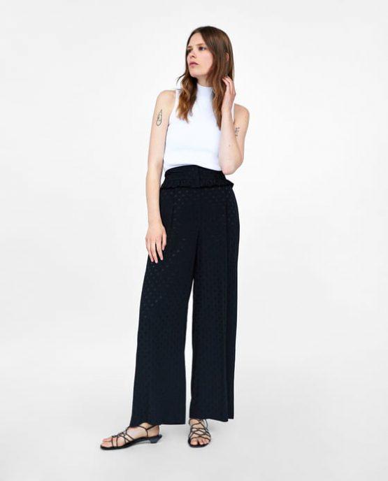 ZARA Frilled jacquard trousers size S
