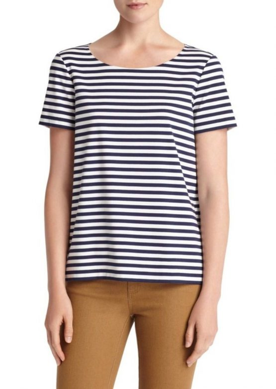 Tahari Striped Boatneck Tee