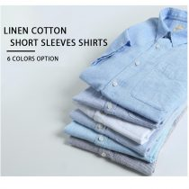 Giordano Linen-cotton short sleeve single pocket shirt