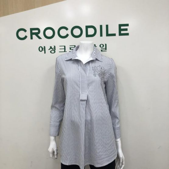 [Crocodile Lady] embroidered decorative striped blouse Crocodile lady cl7m-bl303