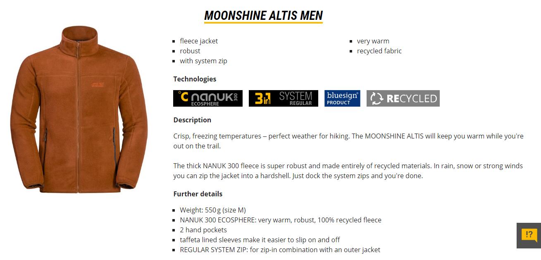 2ba916ef0c Jack Wolfskin Moonshine Altis Jacket Men 1706921 Jack Wolfskin. Men ...