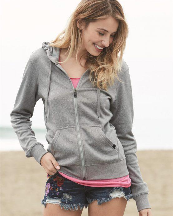 Oakley Women's Heather Grey Poly Hooded Full-Zip Sweatshirt 561314 Oakley size M