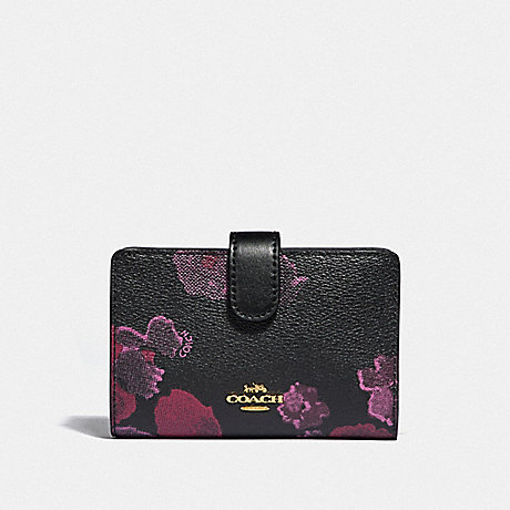 Coach Medium Corner Zip Wallet With Halftone Floral Print F39127 Coach
