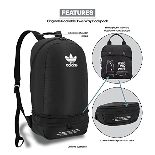 ADIDAS ORIGINAL PACKABLE TWO-WAY BACKPACK CJ6405 Adidas