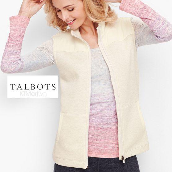 Áo khoác gillet T by Talbots Woven Trim Fleece Vest size Sp, Mp, P