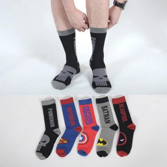 Avenger Deadpool Punisher Batman Superman Socks American Captain Brand New Cotton Fashion Casual Men Socks Summer Man Sock