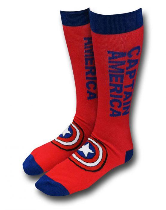 Captain America Text Crew Socks