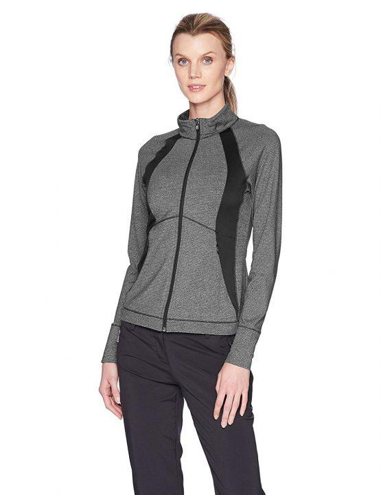 Cutter&Buck Women's Annika Smooth Melange Stripe Shoreline Colorblock Full Zip Jacket LCK00018