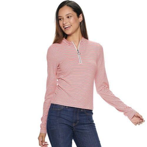 Kohls Juniors' SO® Half Zip Mockneck Top size xs, s, m, l, xl