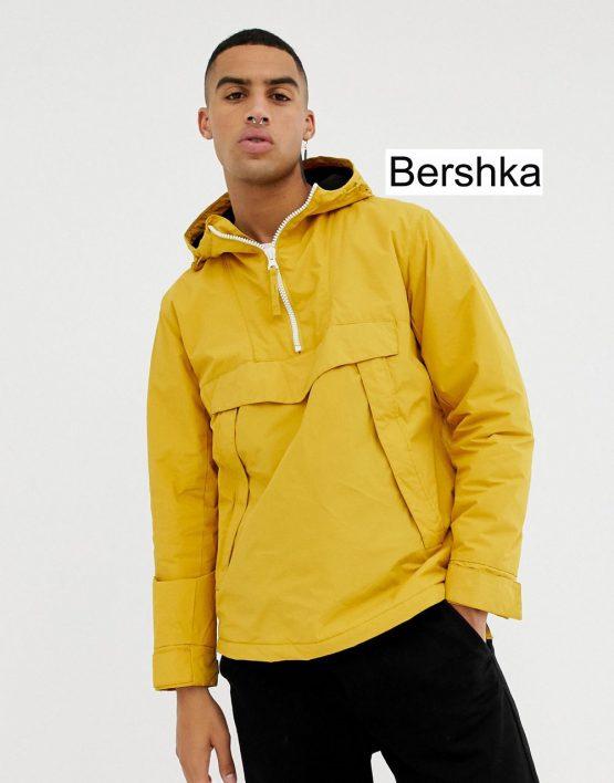 Bershka Hooded Jacket In Yellow With Half Zip And Side Zips Bershka size S