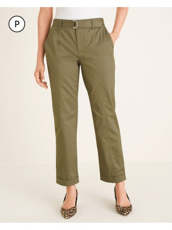 Quần Chico's Petite Belted Utility Ankle Pants, Rustic Olive, Black size 4p, 6p