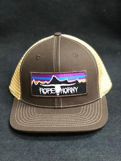 Mũ lưỡi trai ROPE HORNY BROWN/KHAKI SKULL AND MOUNTAINS PATCH CAP
