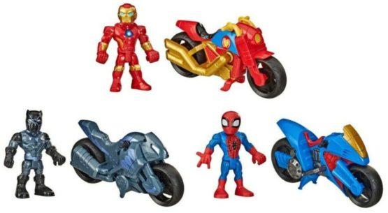 Hasbro Marvel Super Hero Adventure 3 Pack Motorcycles Iron Man Black Panther Spiderman