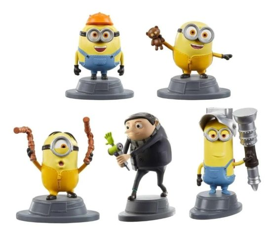 """Micro Collection MINIONS The Rise of Gru 2"""" Mattel Set of (5)"""