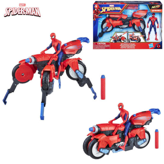 Hasbro E0593 Marvel Spider-Man Homecoming Nerf 3-in-1 Spider Cycle Action Figure & Vehicle