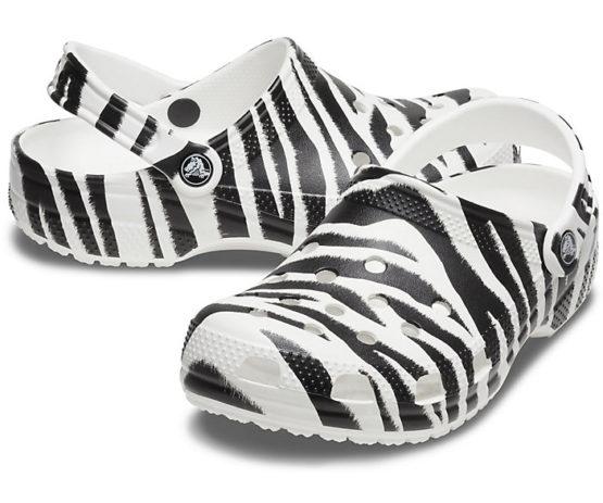Crocs 206676 Classic Zebra Print Clog size M5,6