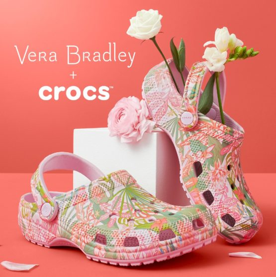 Crocs Classic Clog in Rain Forest Canopy Pink with Vera Bradley M7