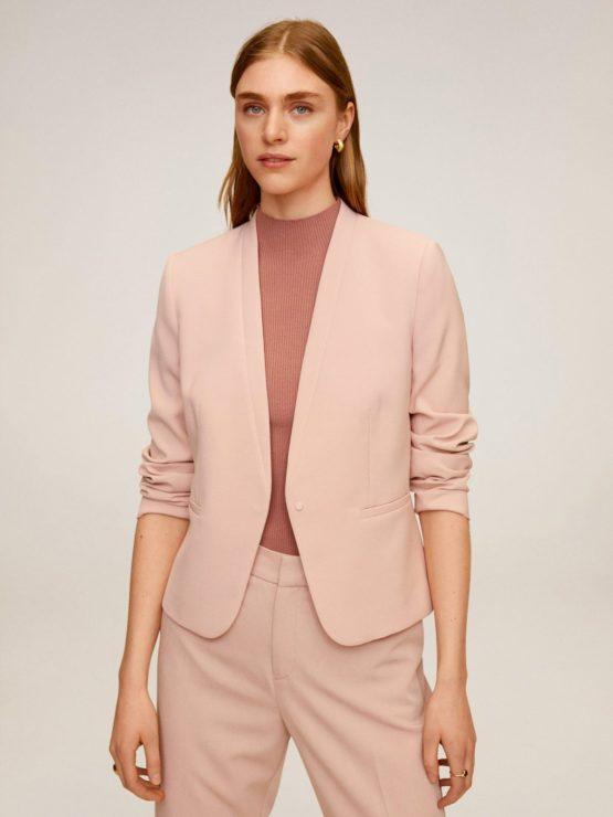 Mango 67934406 Leli satin lapel jacket size M(US) Pink color