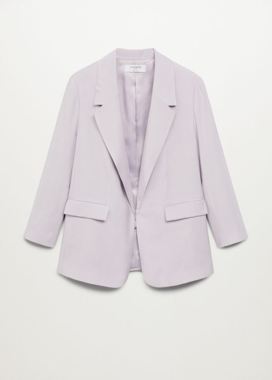 Mango 87044029 Patterned suit blazer Lilac size M