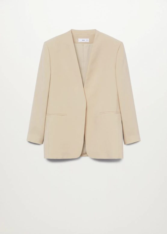 Mango 87055674 Modal-blend suit blazer size S Ecru